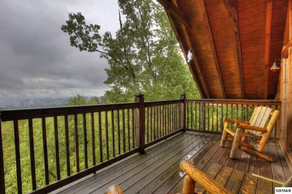 Loft deck overlooking the mountains at Serenity Heights, a 3 bedroom cabin rental located in Pigeon Forge