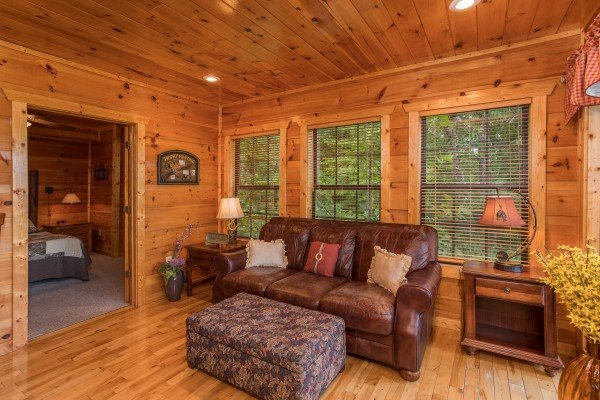 Sofa bed in a sitting room at Serenity Heights, a 3 bedroom cabin rental located in Pigeon Forge
