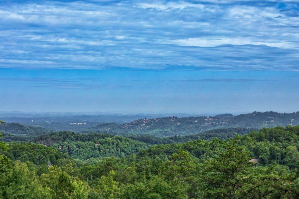 Summertime mountain views from On Angels Wings, a 5 bedroom cabin rental located in Gatlinburg