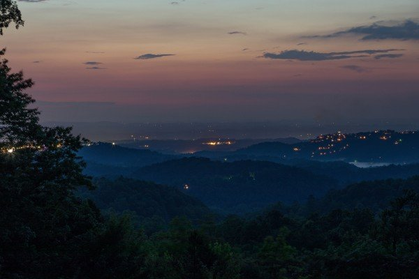 Sunset viewed from On Angels Wings, a 5 bedroom cabin rental located in Gatlinburg