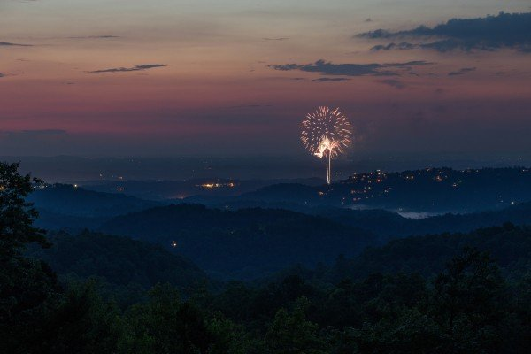 Fireworks as viewed from On Angels Wings, a 5 bedroom cabin rental located in Gatlinburg