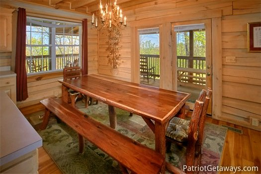 Dining area table at On Angels Wings, a 5 bedroom cabin rental located in Gatlinburg