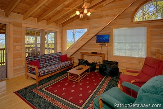 Futon in loft at On Angels Wings, a 5 bedroom cabin rental located in Gatlinburg