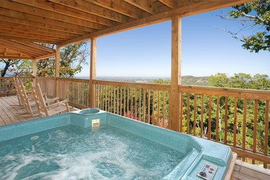 Hot tub with a view at On Angels Wings, a 5 bedroom cabin rental located in Gatlinburg
