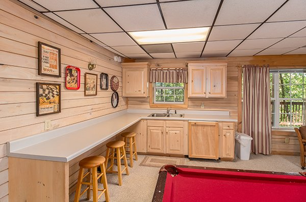 Kitchenette on the lower level at On Angels Wings, a 5 bedroom cabin rental located in Gatlinburg