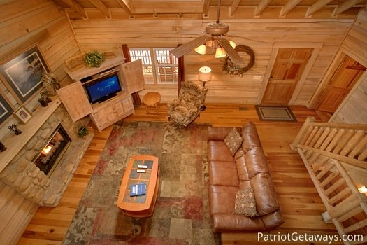 Living room view from loft at On Angels Wings, a 5 bedroom cabin rental located in Gatlinburg