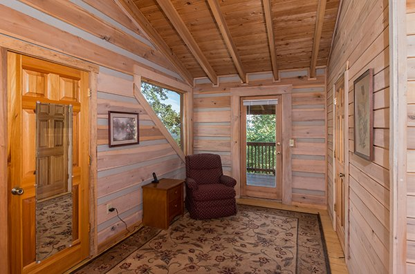 Loft sitting area at On Angels Wings, a 5 bedroom cabin rental located in Gatlinburg