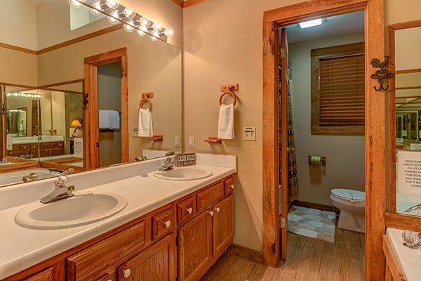 Bathroom with double vanity sinks, jacuzzi, and separate toilet area at Just for Fun, a 4 bedroom cabin rental located in Pigeon Forge