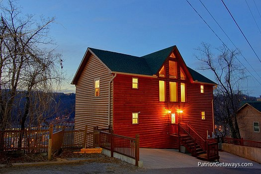 exterior front view at smoky mountain lodge a 7 bedroom cabin rental located in gatlinburg