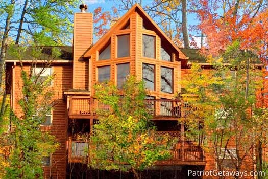 exterior rear view at smoky mountain lodge a 7 bedroom cabin rental located in gatlinburg