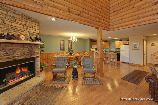 living area at smoky mountain lodge a 7 bedroom cabin rental located in gatlinburg