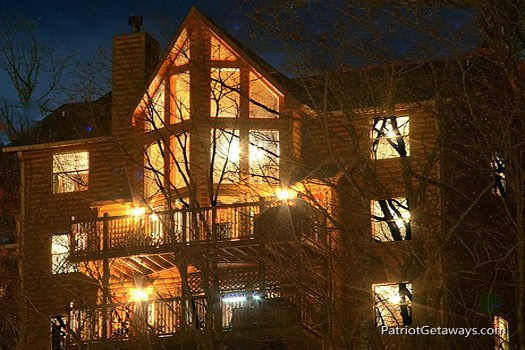 rear exterior view at smoky mountain lodge a 7 bedroom cabin rental located in gatlinburg