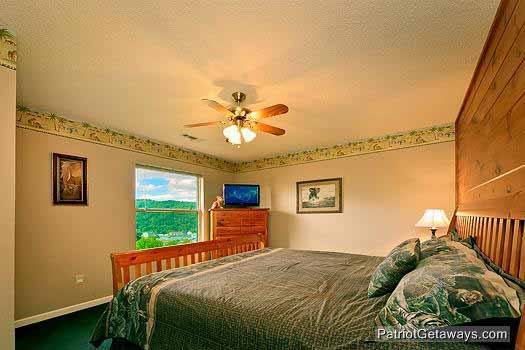 third floor king bedrroom at smoky mountain lodge a 7 bedroom cabin rental located in gatlinburg