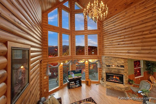 two story living room at smoky mountain lodge a 7 bedroom cabin rental located in gatlinburg