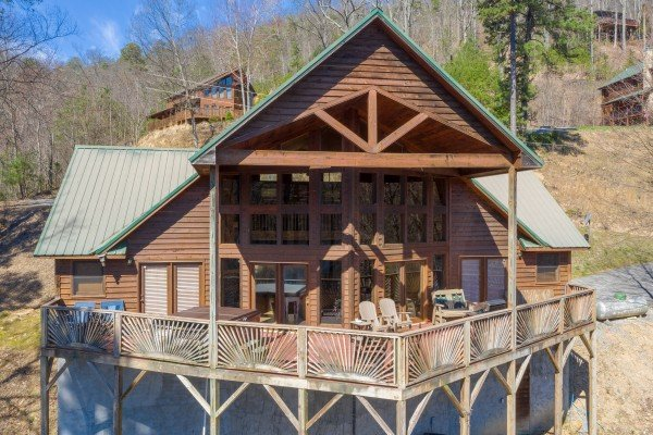 Drone exterior view at Kaleidoscope, a 2 bedroom cabin rental located in Pigeon Forge