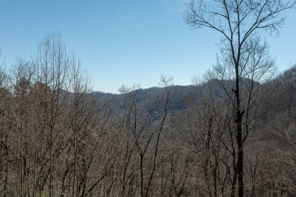 Mountain views through the trees at Kaleidoscope, a 2 bedroom cabin rental located in Pigeon Forge