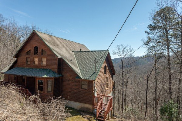Side exterior view at Kaleidoscope, a 2 bedroom cabin rental located in Pigeon Forge