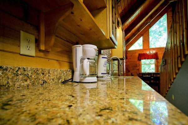 Kitchen appliances on the counter at Bear's Lair, a 2-bedroom cabin rental located in Pigeon Forge