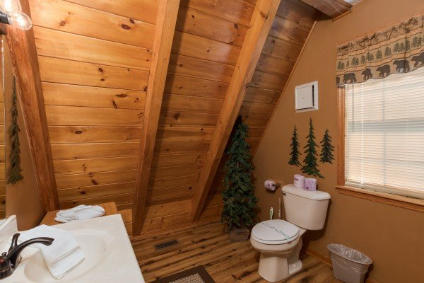 Bathroom in the loft at Cozy Mountain View, a 1-bedroom cabin rental located in Pigeon Forge