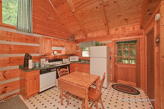 Kitchen at Call of the Wild, a 1-bedroom cabin rental located in Pigeon Forge