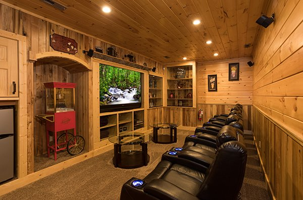 Home theater room at The Bear's House, a 4 bedroom cabin rental in Pigeon Forge