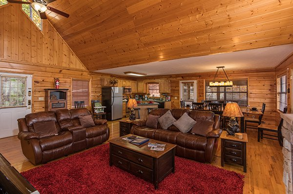 Living room with two sofas at The Bear's House, a 4 bedroom cabin rental in Pigeon Forge