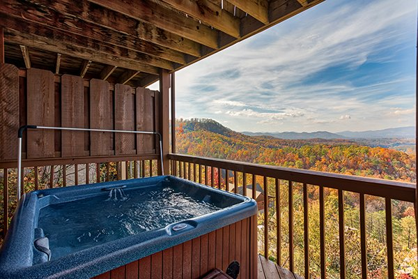 Second hot tub on a lower deck at The Bear's House, a 4 bedroom cabin rental in Pigeon Forge