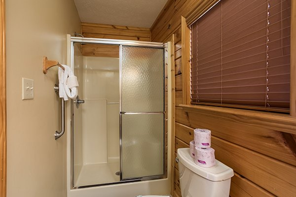 Shower stall in the en suite bath at The Bear's House, a 4 bedroom cabin rental in Pigeon Forge