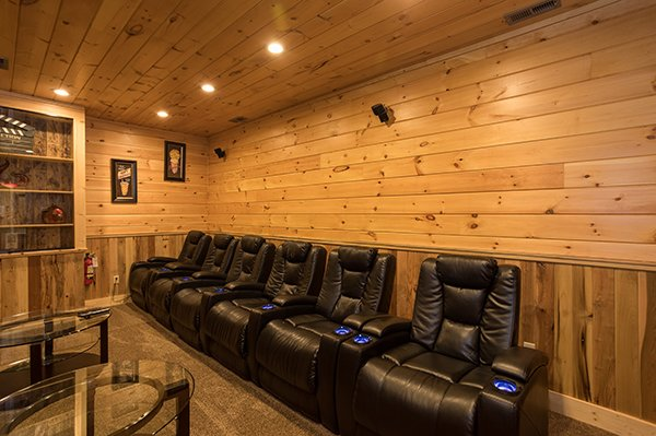 Theater room seating at The Bear's House, a 4 bedroom cabin rental in Pigeon Forge