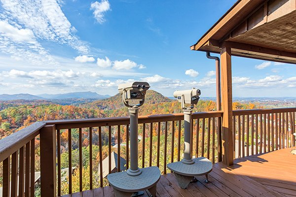 Viewfinders looking at the Smoky Mountains at The Bear's House, a 4 bedroom cabin rental in Pigeon Forge