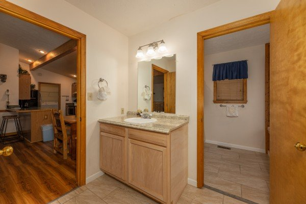 En suite bath at Pampered Campers, a 3 bedroom cabin rental located in Pigeon Forge