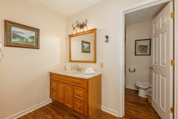 Bathroom at Pampered Campers, a 3 bedroom cabin rental located in Pigeon Forge