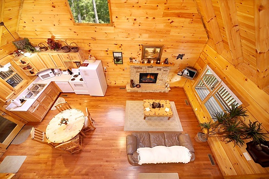 loft view of living area at smoky bears creek a 2 bedroom cabin rental located in pigeon forge