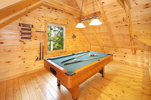 loft with pool table at smoky bears creek a 2 bedroom cabin rental located in pigeon forge