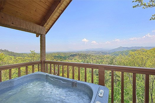 Hot tub smoky mountain views from Bare Hugs, a 1-bedroom cabin rental located in Pigeon Forge