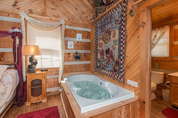 Jacuzzi tub at Bare Hugs, a 1-bedroom cabin rental located in Pigeon Forge