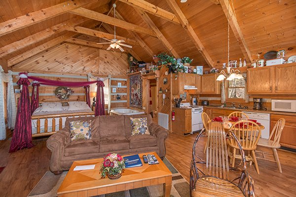 Studio cabin layout at Bare Hugs, a 1-bedroom cabin rental located in Pigeon Forge