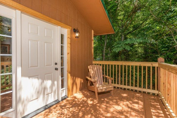 Private deck off the second floor bedroom at Grill & Chill, a 2-bedroom Gatlinburg cabin rental