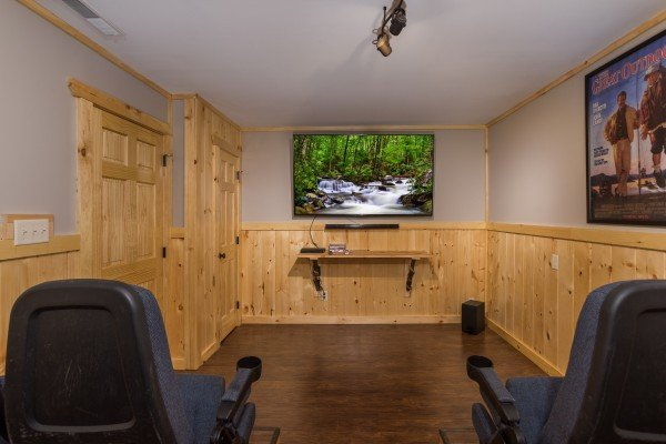 Theater room at Grill & Chill, a 2-bedroom Gatlinburg cabin rental