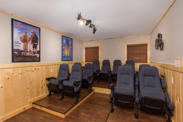 Stadium style seating in the theater room at Grill & Chill, a 2-bedroom Gatlinburg cabin rental