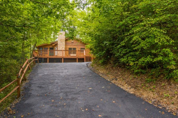 Driveway at Sweet Caroline, a 2 bedroom cabin rental located in Pigeon Forge