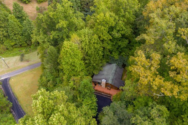 Looking down at Sweet Caroline, a 2 bedroom cabin rental located in Pigeon Forge