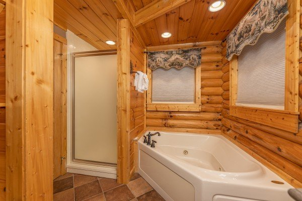 Bathroom with a jacuzzi and shower at Lookout Lodge, a 5 bedroom cabin rental located in Pigeon Forge