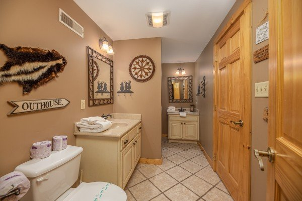 Bathroom with two vanities at Lookout Lodge, a 5 bedroom cabin rental located in Pigeon Forge