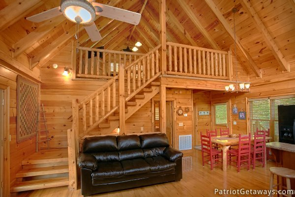Staircase up to lofted bedroom at Alpine Sundance Trail, a 3 bedroom cabin rental located in Pigeon Forge