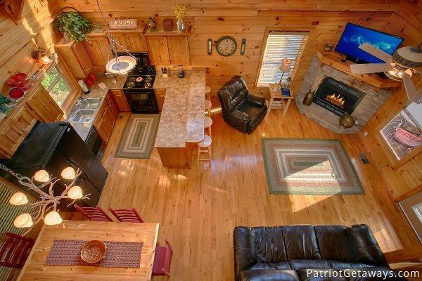 View of the first floor from the lofted bedroom at Alpine Sundance Trail, a 3 bedroom cabin rental located in Pigeon Forge