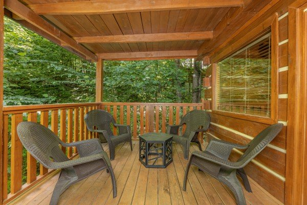 Deck chairs at Bootlegger Hill Hideaway, a 2 bedroom cabin rental located in Pigeon Forge