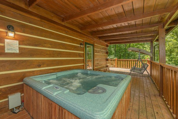 Hot tub at Bootlegger Hill Hideaway, a 2 bedroom cabin rental located in Pigeon Forge