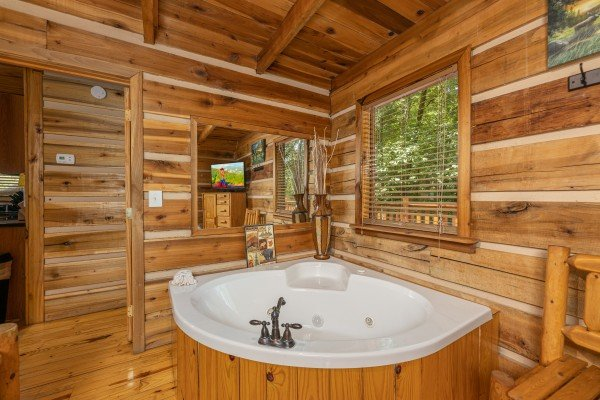 Jacuzzi at Bootlegger Hill Hideaway, a 2 bedroom cabin rental located in Pigeon Forge