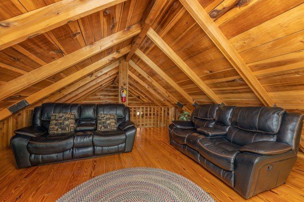 Seating in the loft at Bootlegger Hill Hideaway, a 2 bedroom cabin rental located in Pigeon Forge
